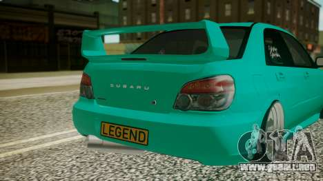 Subaru Impreza 2004 para GTA San Andreas vista hacia atrás