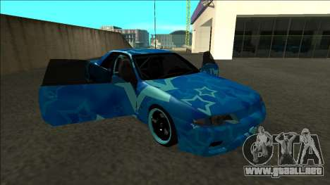 Nissan Skyline R32 Drift Blue Star para vista lateral GTA San Andreas