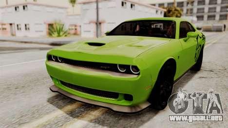 Dodge Challenger SRT Hellcat 2015 HQLM para la vista superior GTA San Andreas