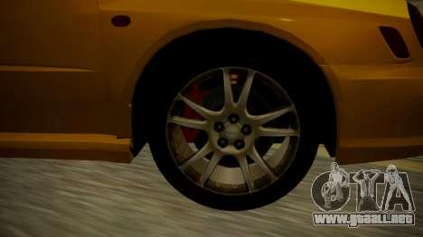 Subaru Impreza WRX GDA para GTA San Andreas vista posterior izquierda