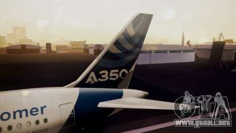 Airbus 350-900XWB Qatar Launch Customer para GTA San Andreas vista posterior izquierda