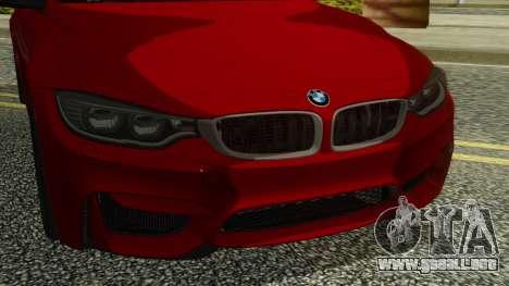 BMW M4 Coupe 2015 para GTA San Andreas vista hacia atrás