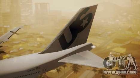 Boeing 747-200 Fly US para GTA San Andreas vista posterior izquierda