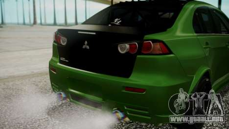 Mitsubishi Lancer Evolution X WBK para vista lateral GTA San Andreas