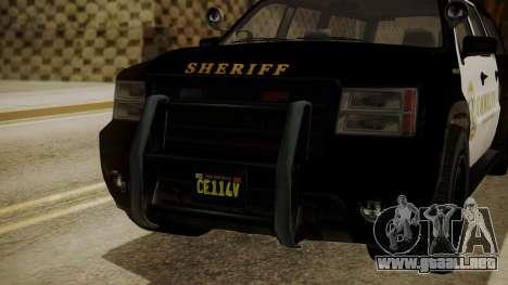 GTA 5 Declasse Granger Sheriff SUV para GTA San Andreas vista hacia atrás