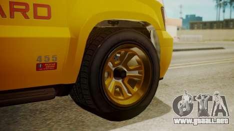 GTA 5 Declasse Granger Lifeguard para GTA San Andreas vista posterior izquierda