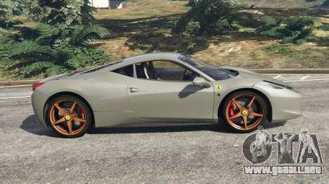 GTA 5 Ferrari 458 Italia 2009 v1.4 vista lateral izquierda