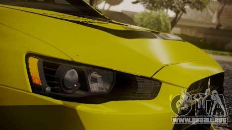 Mitsubishi Lancer Evolution X 2015 Final Edition para la vista superior GTA San Andreas