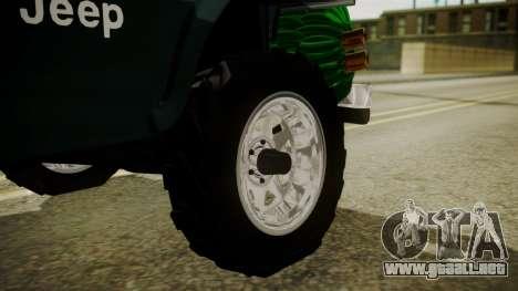 Jeep Willys Cafetero para GTA San Andreas vista posterior izquierda