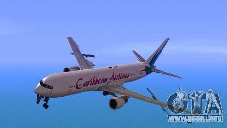 Boeing 767-300 Caribbean Airlines para GTA San Andreas vista posterior izquierda