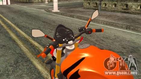 Honda Hornet Repsol 2010 para GTA San Andreas vista hacia atrás