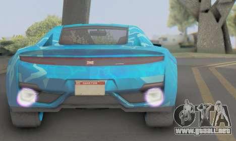 Dinka Jester (GTA V) Blue Star Edition para GTA San Andreas vista posterior izquierda