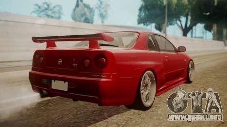Nissan Skyline R34 FnF 4 v1.1 para GTA San Andreas left