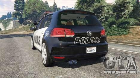 GTA 5 Volkswagen Golf Mk6 Police vista lateral izquierda trasera