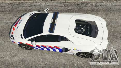GTA 5 Lamborghini Aventador LP700-4 Dutch Police v5.5 vista trasera