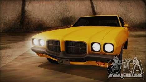 Pontiac Lemans Hardtop Coupe 1971 FIV АПП para GTA San Andreas vista posterior izquierda