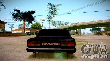 ВАЗ 2107 Luz de Optimización para GTA San Andreas vista posterior izquierda