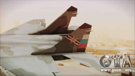 Mikoyan-Gurevich MIG-29A Russian Air Force para GTA San Andreas vista posterior izquierda