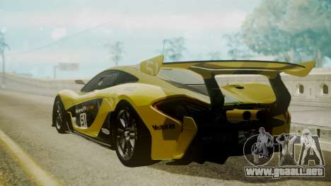 McLaren P1 GTR 2015 Yellow-Green Livery para GTA San Andreas left