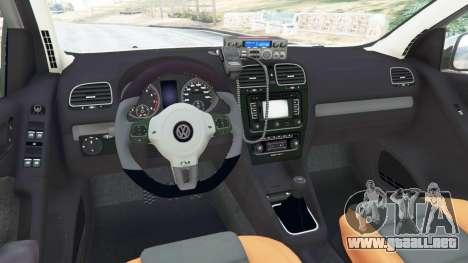 GTA 5 Volkswagen Golf Mk6 Police vista lateral trasera derecha