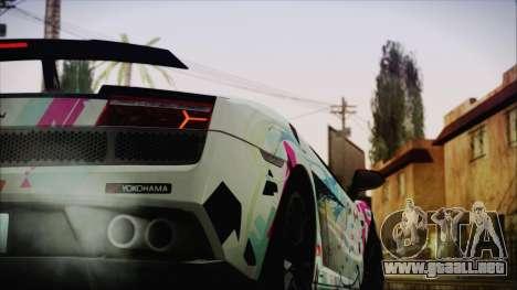 Lamborghini Gallardo LP570-4 2015 Miku Racing 4K para GTA San Andreas vista posterior izquierda