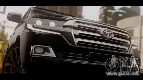 Toyota Land Cruiser 2016 para GTA San Andreas vista posterior izquierda