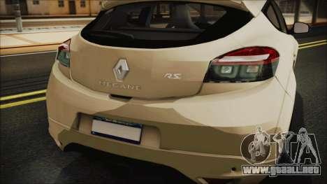 Renault Megane RS para GTA San Andreas vista hacia atrás