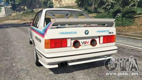 GTA 5 BMW M3 (E30) 1991 v1.2 vista lateral izquierda trasera