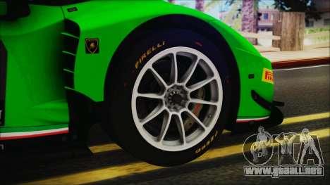 Lamborghini Huracan 610-4 GT3 2015 para GTA San Andreas vista posterior izquierda