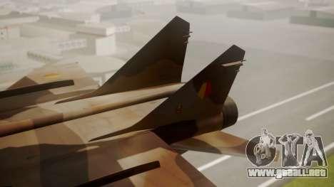 Mikoyan MiG-31 Yuktobanian Air Force para GTA San Andreas vista posterior izquierda