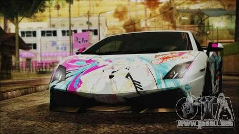 Lamborghini Gallardo LP570-4 2015 Miku Racing 4K para GTA San Andreas
