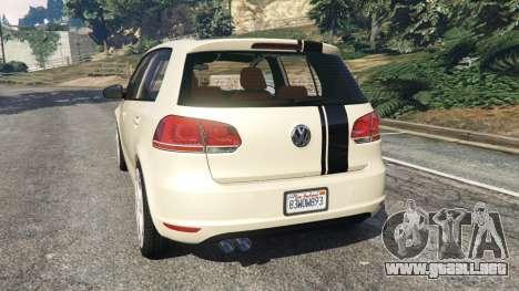 GTA 5 Volkswagen Golf Mk6 v2.0 [Stripes] vista lateral izquierda trasera
