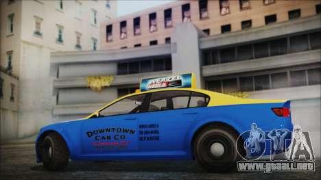 Cheval Fugitive Downtown Cab Co. Taxi para GTA San Andreas vista posterior izquierda