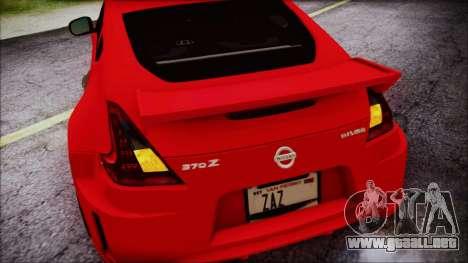 Nissan 370Z Nismo 2010 Angel Beats Itasha para GTA San Andreas interior