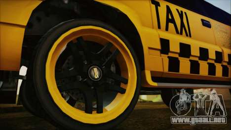 Albany Cavalcade Taxi (Hotwheel Cast Style) para GTA San Andreas vista posterior izquierda