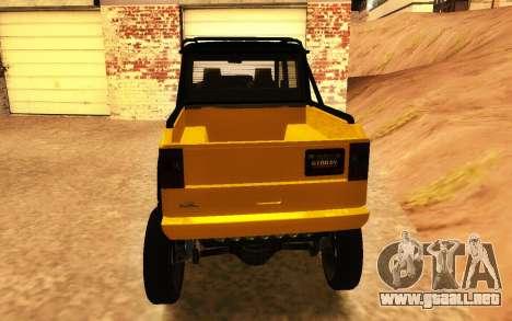 Benefactor Dubsta 6x6 Tuning Personalizado para GTA San Andreas vista posterior izquierda