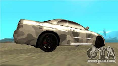 Nissan Skyline R34 Army Drift para GTA San Andreas vista posterior izquierda