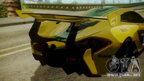 McLaren P1 GTR 2015 Yellow-Green Livery para GTA San Andreas vista hacia atrás