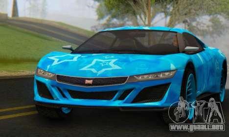 Dinka Jester (GTA V) Blue Star Edition para la visión correcta GTA San Andreas