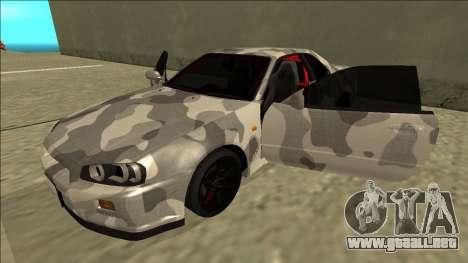 Nissan Skyline R34 Army Drift para vista lateral GTA San Andreas