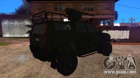 Komatsu LAV 4x4 with Vulcan Gatling Gun para GTA San Andreas left