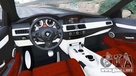 GTA 5 BMW M5 (E60) v1.1 vista lateral derecha