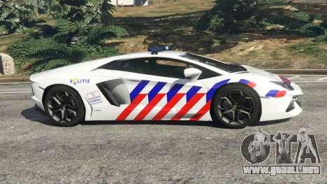 GTA 5 Lamborghini Aventador LP700-4 Dutch Police v5.5 vista lateral izquierda