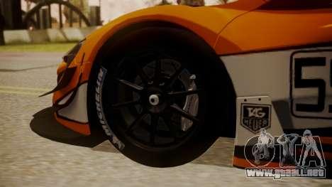 McLaren 650S GT3 2015 para GTA San Andreas vista posterior izquierda