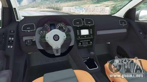 GTA 5 Volkswagen Golf Mk6 vista lateral trasera derecha