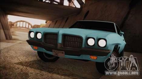 Pontiac Lemans Hardtop Coupe 1971 para GTA San Andreas vista posterior izquierda