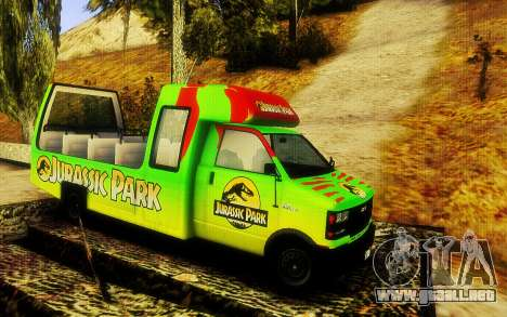 Jurassic Park Tour Bus para GTA San Andreas vista posterior izquierda