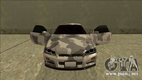 Nissan Skyline R34 Army Drift para la vista superior GTA San Andreas