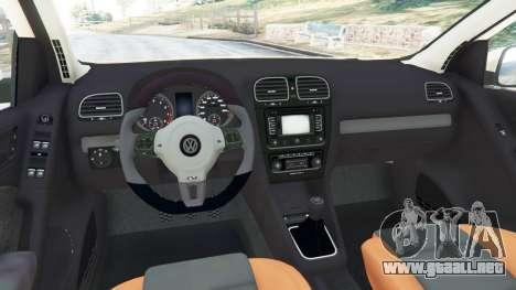 GTA 5 Volkswagen Golf Mk6 v2.0 [Stripes] vista lateral trasera derecha