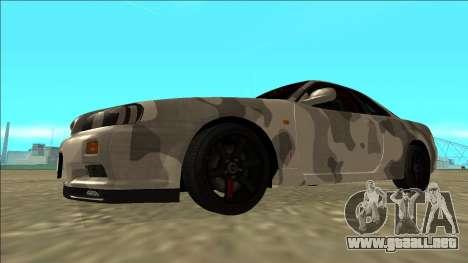 Nissan Skyline R34 Army Drift para GTA San Andreas left